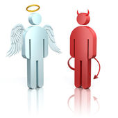 Shoulder angel and devil — Stock Photo