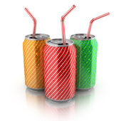 Colorful aluminum cans with straws — Stock Photo
