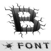 Cracked font letter B — Stock Photo