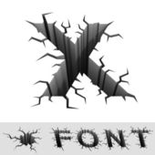 Cracked font letter X — Stock Photo