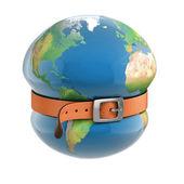 Planet earth belt tightening — Stock Photo