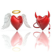 Angel heart and devil heart — Stock Photo