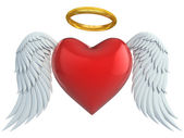 Angel heart with wings and golden halo 3d illustration — 图库照片