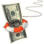Lifebuoy saving dollar 3d concept - dollar crisis — Stock Photo