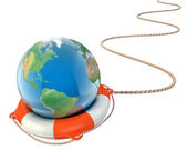 Save the earth 3d concept - globe with lifebuoy isolated — Stock Photo