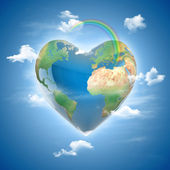 Love planet 3d concept - heart shaped earth surrounded with clouds and rainbow — Stock Photo