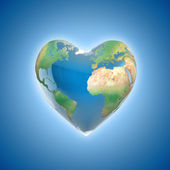 Love planet 3d concept - heart shaped earth — Stock Photo