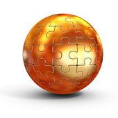 Golden spherical jigsaw — Stock Photo