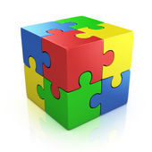 Colorful cubic 3d puzzle — Stock Photo