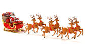 Santa slitta cervi — Foto Stock