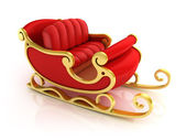 Christmas Santa sleigh - red and golden sledge isolated — Stock Photo