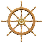 3d ship wheel isolated on white background — Photo