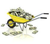 Kruiwagen vol geld — Stockfoto