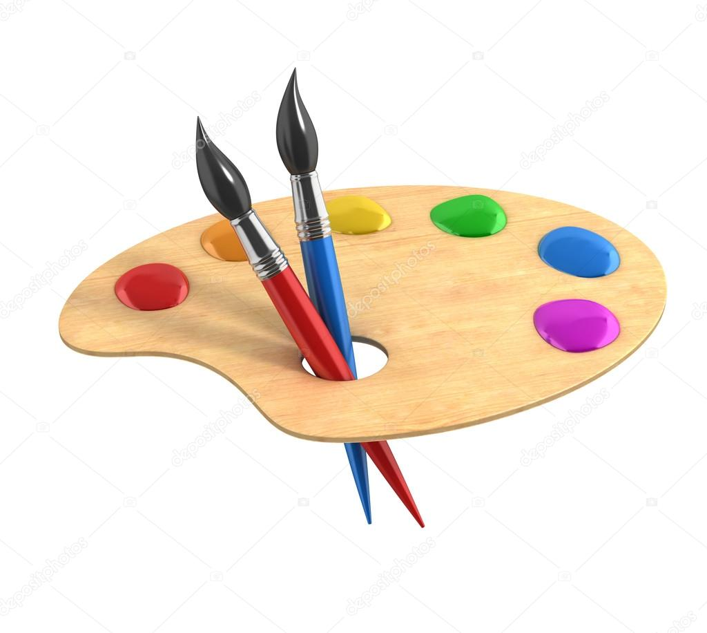 of Wooden art palette with