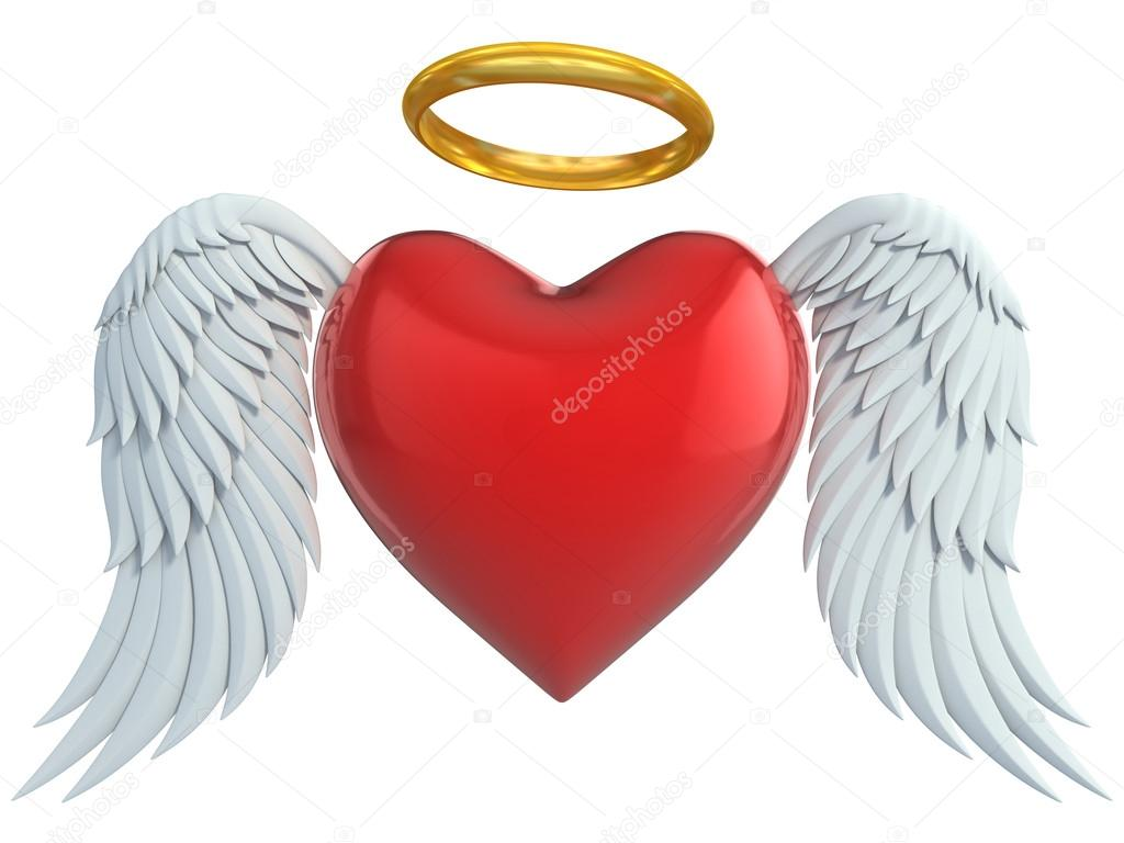 Angel heart with wings and golden halo 3d illustration - Stock ImageAngel Wings Heart Halo