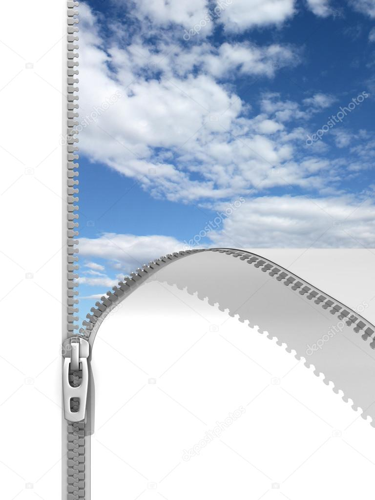 3d illustration of unzipped white background revealing blue sky — Stock Photo #15879313