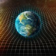 Earth s gravity bends space around it — Stock Photo