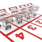 Shopping cart race - sale 3d concept — Stock Photo #25801483