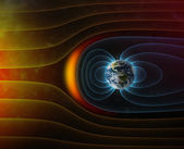 Planet Earth s magnetic field against Sun s solar wind — Stock Photo