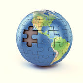 Puzzle earth with missing piece — Stock Photo