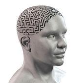 Lidská hlava 3d bludiště — Stock fotografie