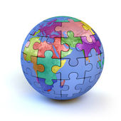 Colorful puzzle planet earth — Stock Photo