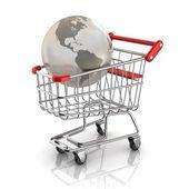 Global market concept - globe inside shopping cart — Stock Photo