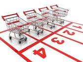 Winkelen kar race - verkoop 3d-concept — Stockfoto