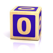 Number zero 0 wooden blocks font — Stock Photo