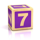 Number seven 7 wooden blocks font — Stock Photo