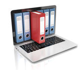 File in database - laptop with ring binders — Stock Photo