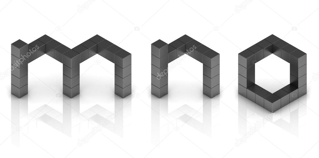 Cubical 3d font letters m n o — Stock Photo © koya979 #25800893