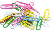 Colorful paper clips on white — Stock Photo