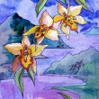 Watercolor yellow orchids on a background of sea and mountains — Stock Photo