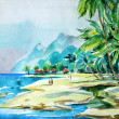 Watercolor seascape. View from the shore of the sea. — Stock Photo