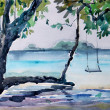 Stock Photo: Watercolor seascape. View from the shore of the sea.
