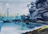 Akvarel krajina s mořem a malé čluny — Stock fotografie
