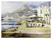 Watercolor landscape with the sea — Stok fotoğraf