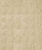 Letras del alfabeto manuscritas sobre arena — Foto de Stock