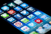 Social Media Apps on Apple iPhone 5 — Stock Photo