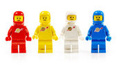 Various astronaut lego mini figures isolated on white. — Stock Photo