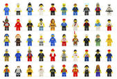 A group of fifty various lego mini figures — Stock Photo