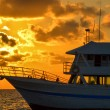 Boat and Golden Sunrise — Stock Photo