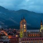 Quito Basilica at Night — Stock Photo