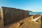 Beach Shack and Canoe — Foto Stock