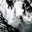 Misty View of Monserrate Church - Stock Photo