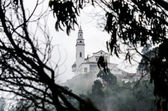 Misty View of Monserrate Church — Stock Photo