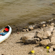 Canoe on River Bank — Stock Photo