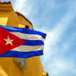 Cuban Flag and Colonial Buildings — Stock Photo