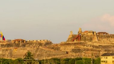 Cartagena Fortress Zooming Time Lapse — Stock Video